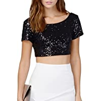 Summer Women's T shirt Round Neck Short Sleeves Backless Crop Top Shirts Fashion Sequins Short Blouses