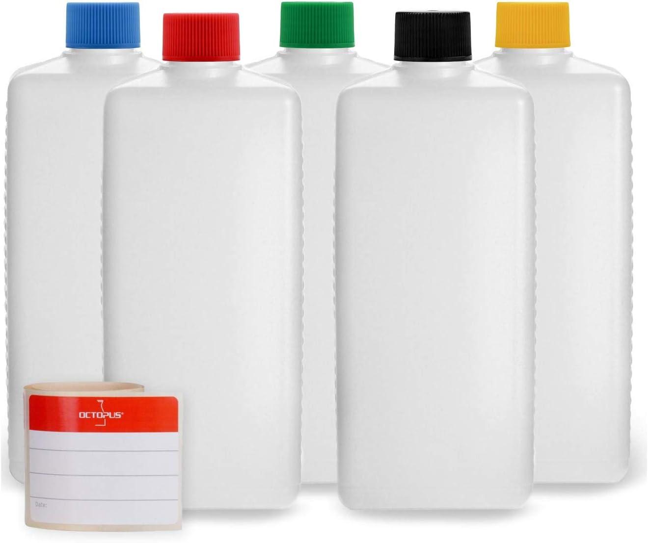 Octopus 5 x 500 ml botellas de plástico, HDPE botellas de plástico con coloridos cierres de rosca, vacías, con tapas de rosca de colores, botellas cuadradas incluye 5 etiquetas de rotulación