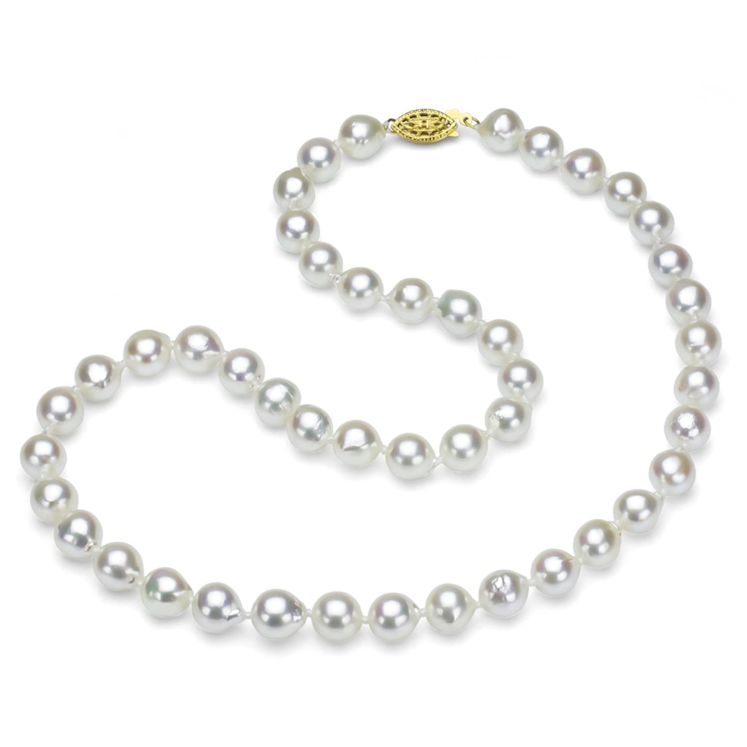 """18k Yellow Gold Plated Sterling Silver 8-8.5mm White Off-Shape Akoya Cultured Pearl Necklace, 18"""""""
