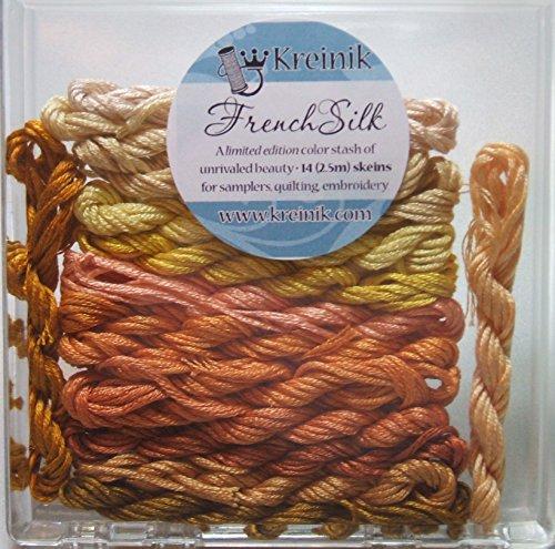(Kreinik French Silk Set for Needlecrafts ~ Yellow 14 Skeins 2.5 m of each #4200 )