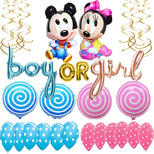 Minnie And Mickey Mouse Baby Shower gender reveal Party supplies Decoration boy or girl balloons pink and blue