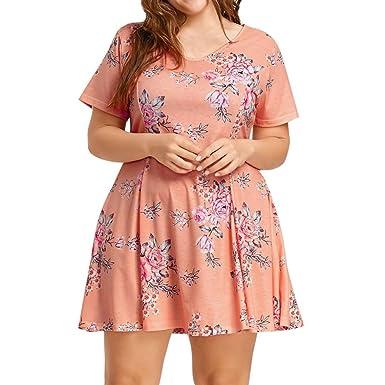Plus Size Women Short Sleeve O Neck Floral Printed Beach Evening Party Dress,Jimmkey Women