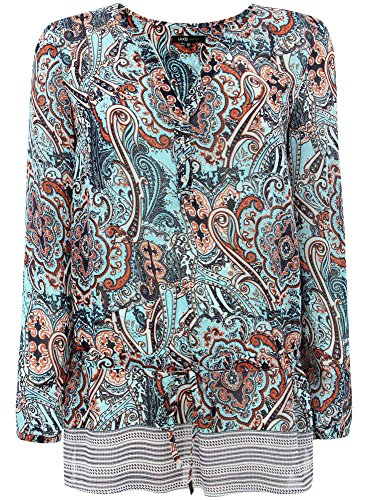 oodji Collection Mujer Blusa Estampada de Gasa Turquesa (7331E)