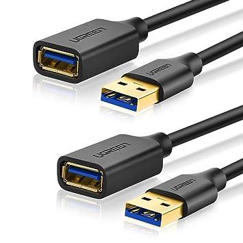 UGREEN Cable Alargador USB 3.0 Cable Extensor 2 Pack USB 3.0 Tipo A Macho a Hembra para Conexión entre PC, TV y Periféricos como Impresora, Ratón, ...