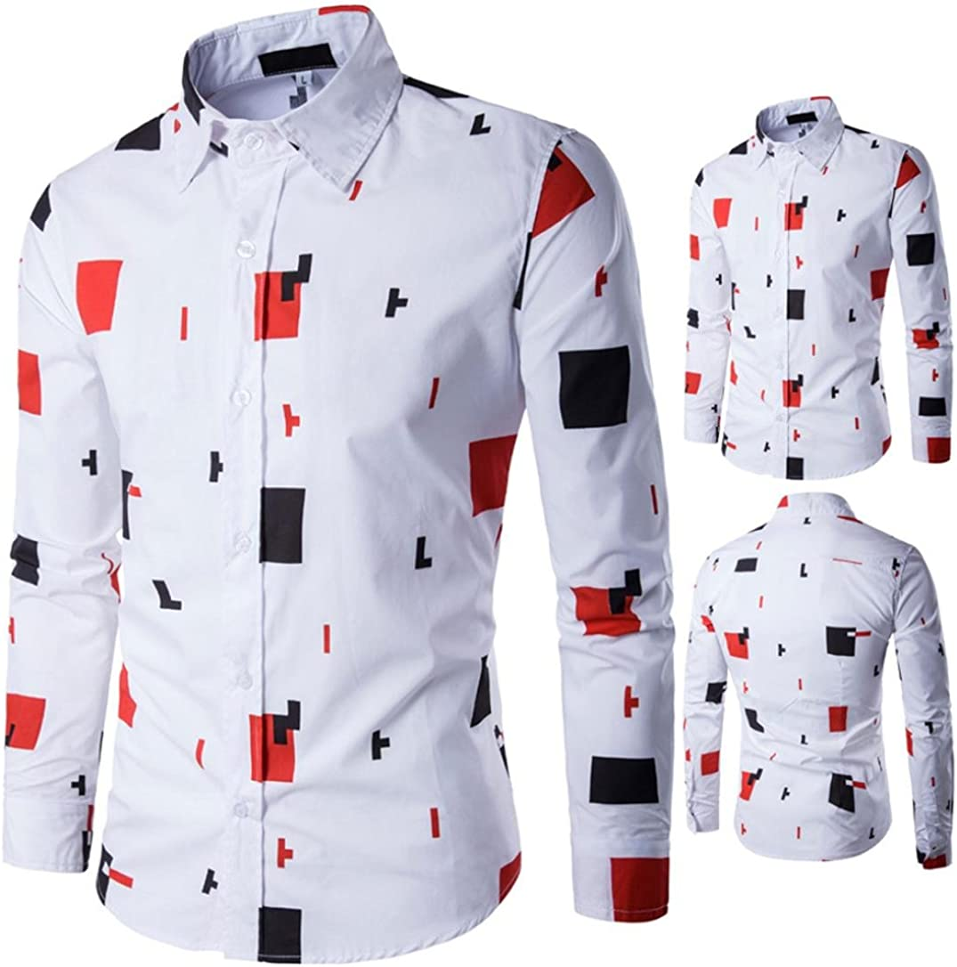 Easytoy Mens Casual Geo Print Long Sleeve Shirt Business Slim Fit T Shirt
