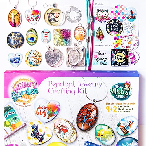 Girls Jewelry Making Kit. DIY Necklace Pendant and Bracelet Crafting Set with Glass Beads and Charms - Fashion Accessories Arts and Crafts Supplies. Great as Handmade Gift, Group Activities and Party (Kit Craft Garden)