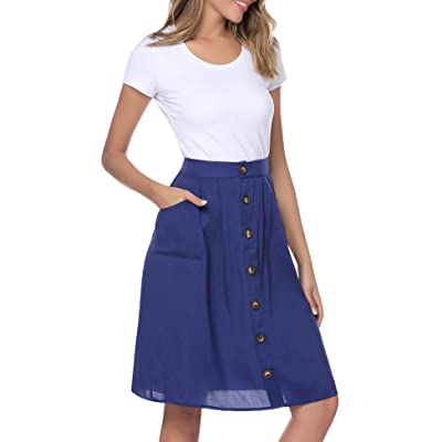 Aibrou Womens High Waist Casual A-Line Skirt Pleated Midi Skirt with Pocket S-XXL at Women's Clothing store