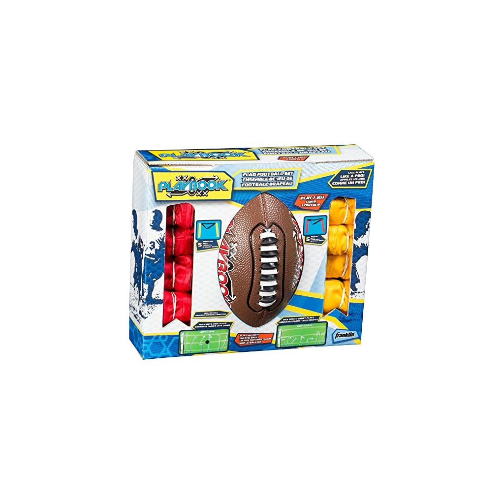 Franklin Sports Flag Football Flags and Ball Set – Flag Football Belts and Football for Kids – Full Youth Flag Football Set – Includes 2 Flag Sets of 5
