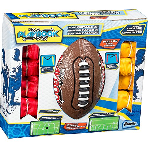 Franklin Sports Playbook Youth Flag Football Set – Includes Mini Playbook Football and Two Flag Sets of 5