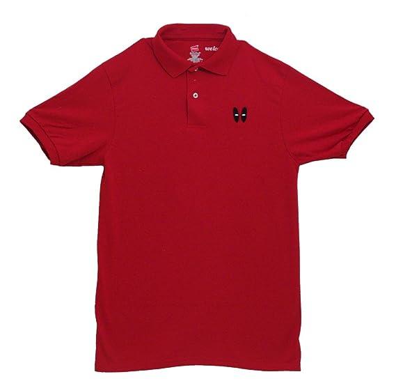f6b74301e Marvel Minimal Deadpool Logo Comics X-Men Mighty Fine Adult Polo T-Shirt  Tee: Amazon.in: Clothing & Accessories