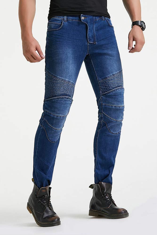 GELing Hombres Forro protector moto de la motocicleta Trabajo pantalones Jeans Cargo Blindada Protecci/ón Aramid,Azul,M
