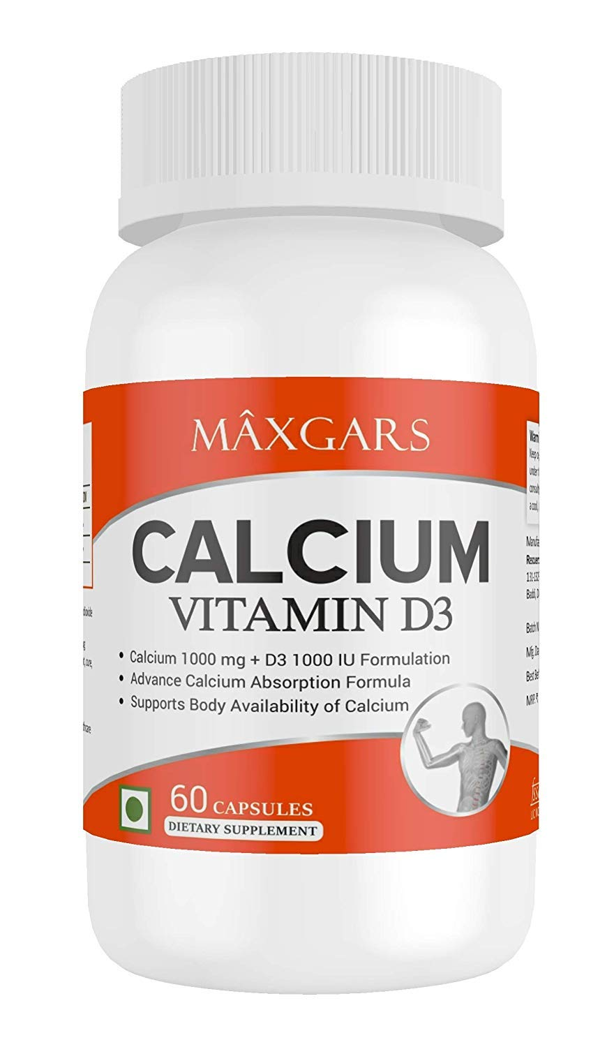 Maxgars Calcium with Vitamin D3 with Calcium 1000 mg and Vitamin D3 1000IU (60 Capsules; 30 Servings)
