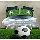 Koongso 3D Soccer Bedding Football Field and City Scenery Printed Duvet Cover Set 4 Pieces Super Soft Cool Sports Bedding Set, Full Size College Bedding