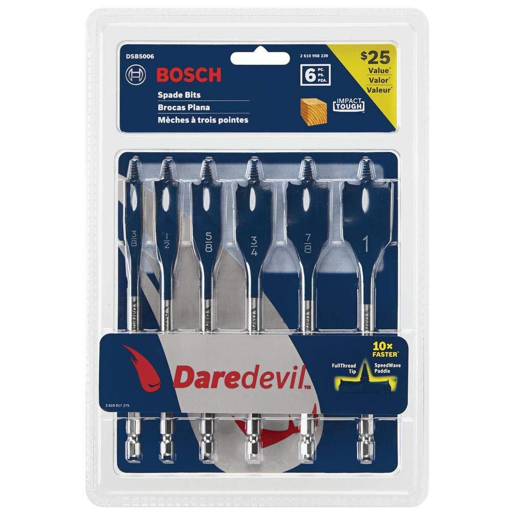 6 Piece Set Bosch DSB5006 Daredevil Standard Spade Bit Set w// Power Groove Hex Shank and Full Cone Threaded Tip