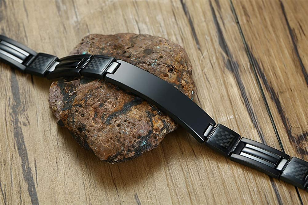XUANPAI Adjustable Engravable Customized Stainless Steel Carbon Fiber Link ID Bracelet with Free Link Removal Tool