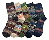 LuluVin Women's Vintage Style Casual Knit Crew Socks - 5 Pairs (Checkers)