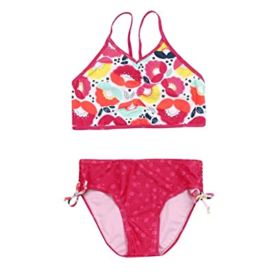 Vincent&July Toddler Girls Red Floral Print Strap Swimwear Swimsuit Bikini Shorts Outfits Set Swimming