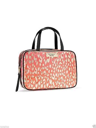 1e344c5705b2 Victoria's Secret Travel Case Cosmetic Bag Coral Leopard Pink
