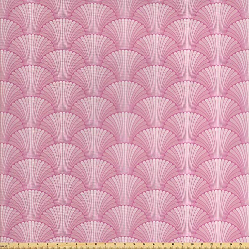 Lunarable Oyster Fabric by The Yard, Japanese Style Oriental Abstract Shells Pattern Curvy Lines Forming an Arc, Decorative Fabric for Upholstery and Home Accents, Pink and Pale Coral ()