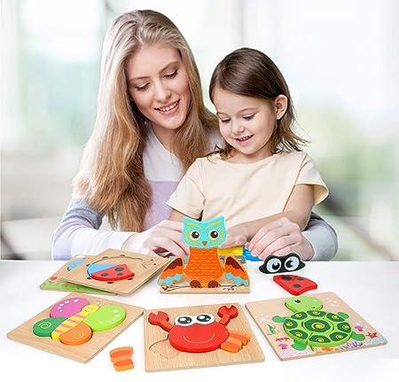 BeebeeRun Puzzles de Madera 2 años,Juguetes niños 1 año 2 3 4 5 6 años,Juguete Educativo Regalo de cumpleaños Navidad(6 Pack)