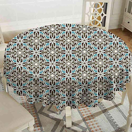 (LsWOW Tablecloth Brown and Blue,Arabesque Middle Eastern Inspired Moroccan Star Pattern Ornament,Taupe Pale Blue Brown Tablecloth Toppers for Round Tables Size:D47)