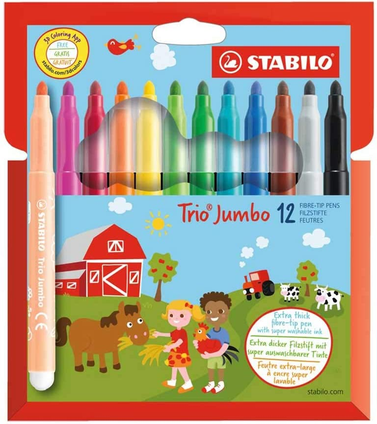 12 + 8 Farben STABILO Trio Jumbo Dicker Filzstift