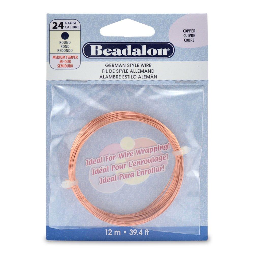 Beadalon German Style Round Wire Copper 24 Gauge, 12-Meter 180CU-024