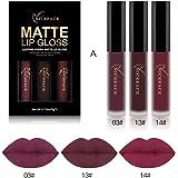 DZT1968 3PCS 6ml New Fashion Waterproof non-marking non-fade Matte Liquid Lipstick Cosmetic Sexy Lip Gloss Kit