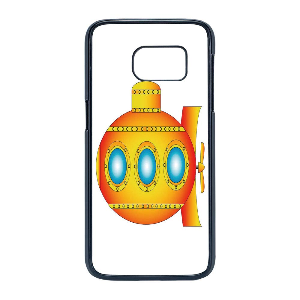 Amazon.com: Cell Phone Case Compatible Samsung Galaxy S7,Yellow Submarine Decor - Hard Plastic Phone Case/Black - Illustration of a Submarine a Crab and ...