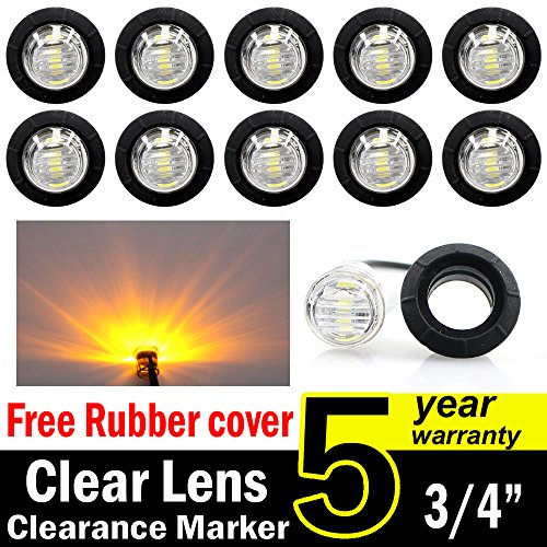 10-Pcs-TMH-34-Inch-Mount-Clear-White-LENS-Amber-LED-Clearance-Markers-side-marker-lights-led-marker-lights-led-side-marker-lights-led-trailer-marker-lights-trailer-marker-light