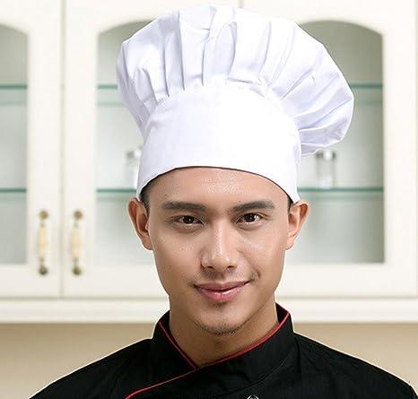LUFA Chef Hat Cocina ajustable ajustable del panadero que cocina el sombrero  alto fijado para los restaurantes caseros de la comida de la cocina  Sombreros ... 0b6fb33554e