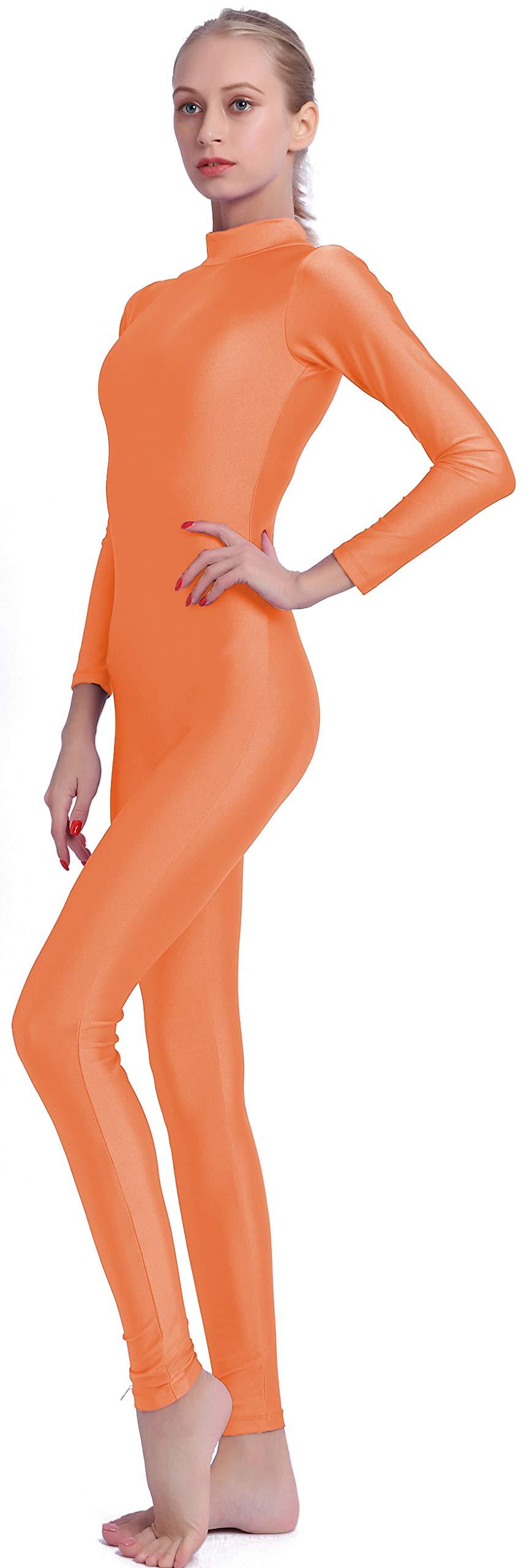Speerise Adult High Neck Zip One Piece Unitard Full Body Leotard, XS, Orange by speerise