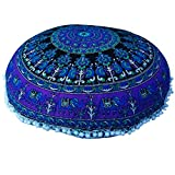 Round Mandala Pillow Cases Hippie Round Roundie Elephant Cotton Cushion Cover Ethnic Style Pillow Sham