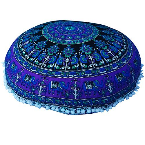 Round Mandala Pillow Cases Hippie Round Roundie Elephant Cotton Cushion Cover Ethnic Style Pillow Sham