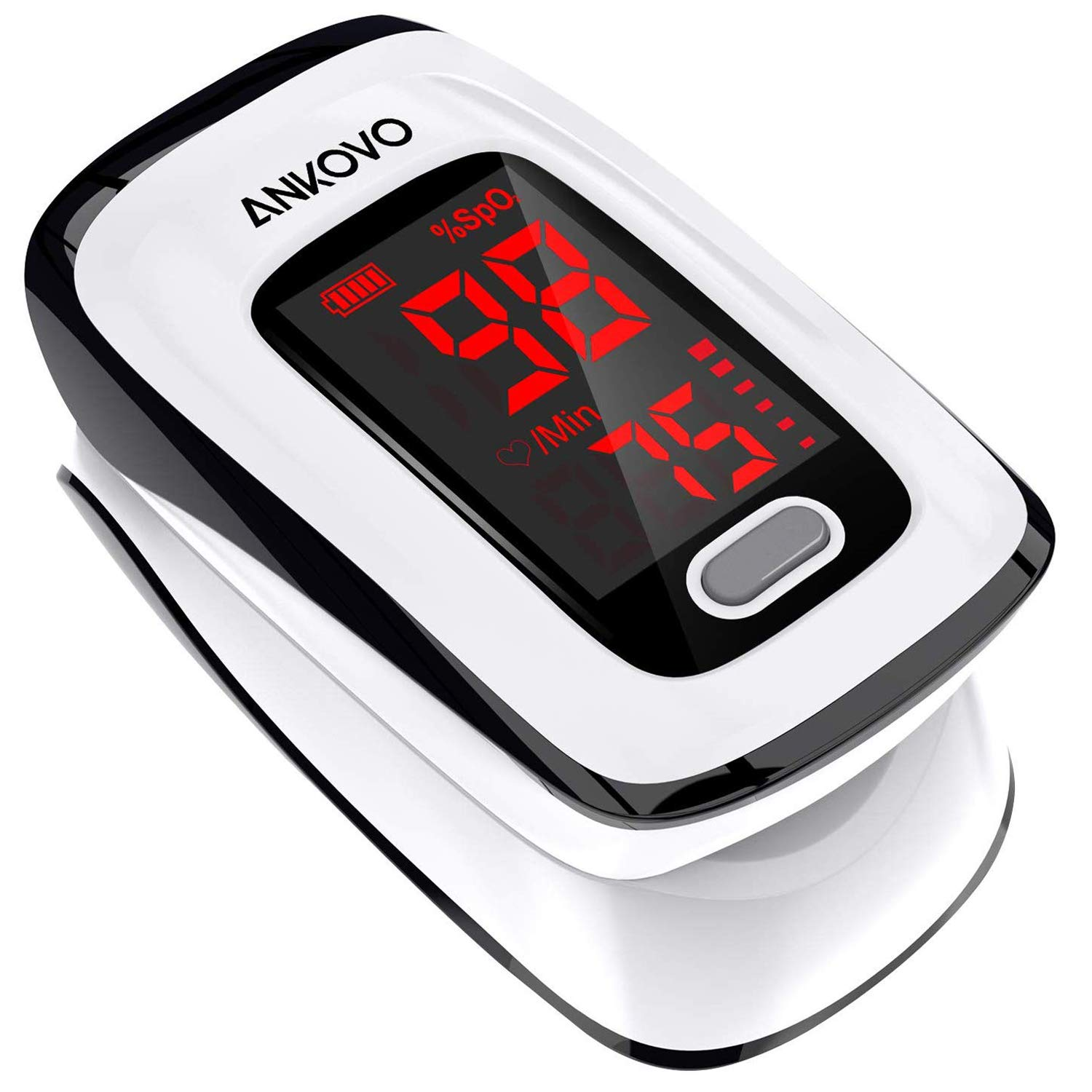 Pulse Oximeter Fingertip, Blood Oxygen Saturation Monitor, Heart Rate Monitor and SpO2 Levels, Portable Pulse Oximeter with Lanyard and Batteries (White)