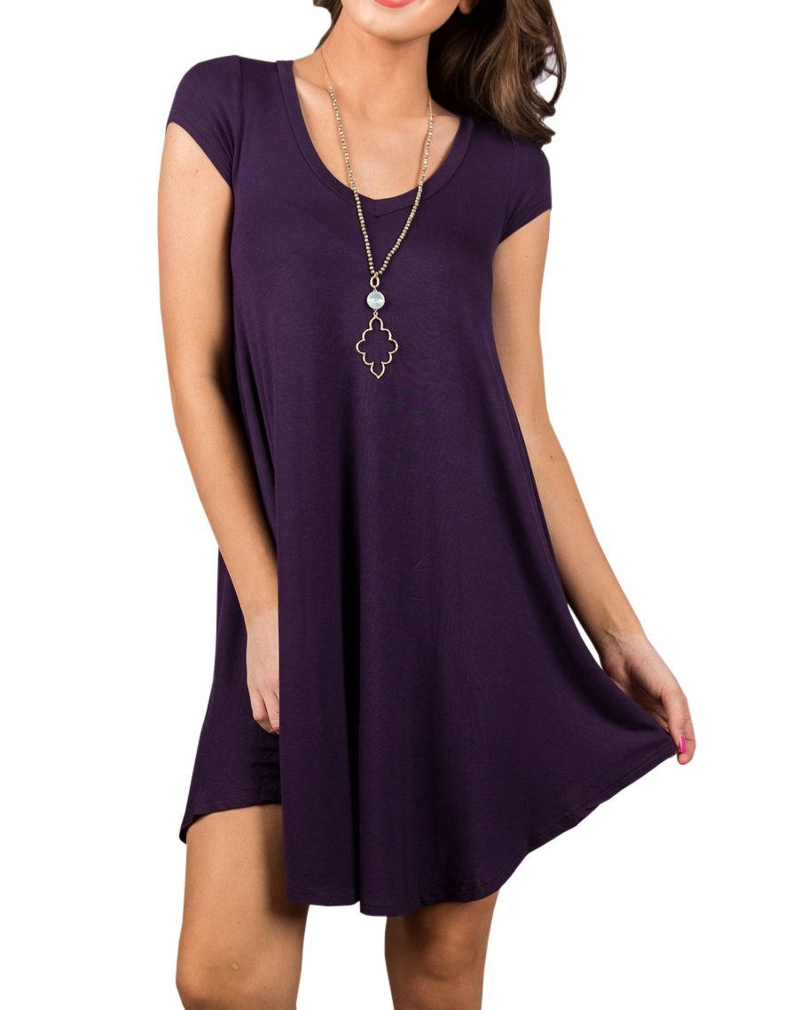 Imysty Womens Casual Swing T-Shirt Dress Short Sleeve Loose Crew Neck Tunic Top