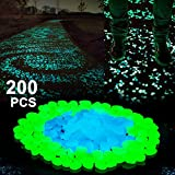 Boomile Glow in the Dark Garden Pebbles for Walkways Outdoor Decor Aquarium Fish Tank Garden Decorative Stones for Path Lawn Yard Walkway in Blue & Green (200 Pack)
