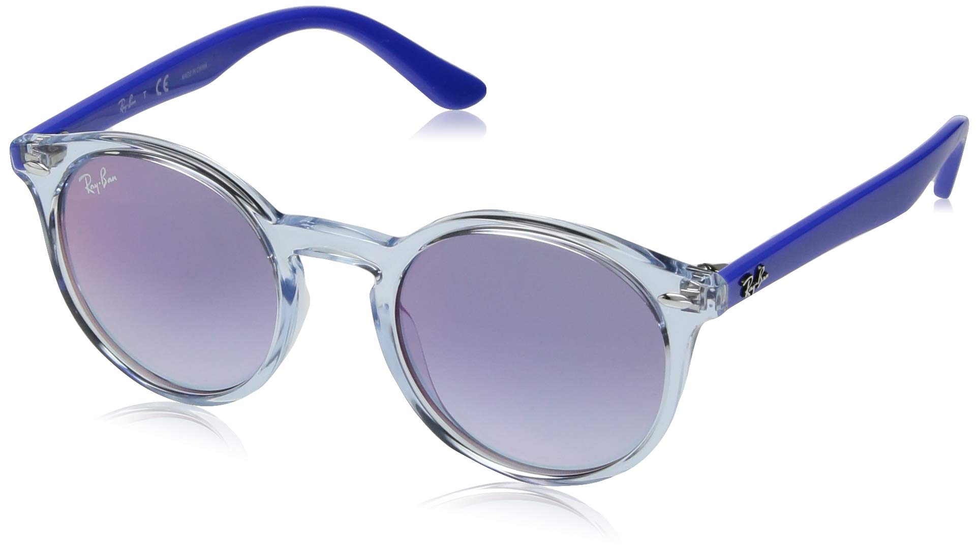 RAY-BAN JUNIOR Kids' RJ9064S Round Kids Sunglasses, Transparent Light Blue/Blue Red Gradient Mirror, 44 mm by RAY-BAN JUNIOR