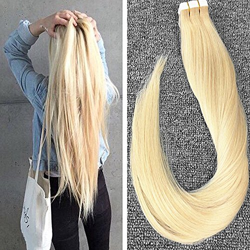 Komorebi 18inch 20 Pieces Per Package 40 Gram #613 Bleach Blonde Real Hair Extensions Remy Tape in Hair Extensions Human Hair 40g Package