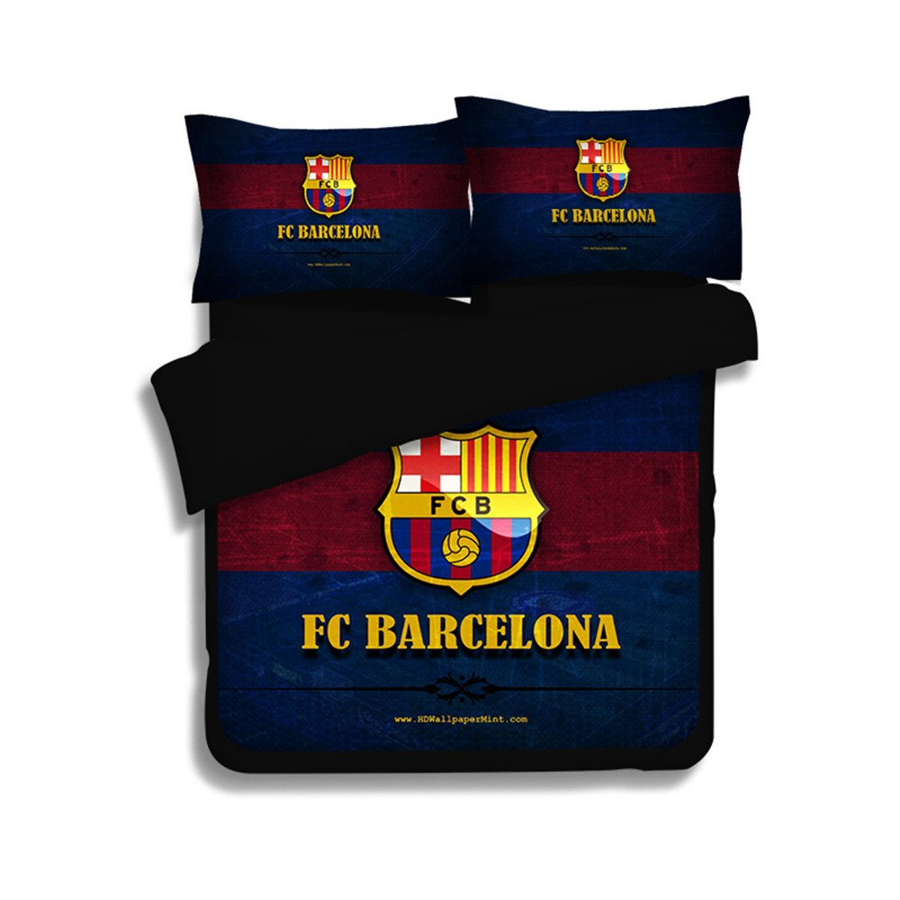 Jameswish Gorgeous Barca Football Duvet Cover Set Heavy-Duty Comfortable Bed Cover For Boy Perfect Fabric 3-Piece 1Duvet Cover Matching 2Pillowshams King Queen Full Twin Size