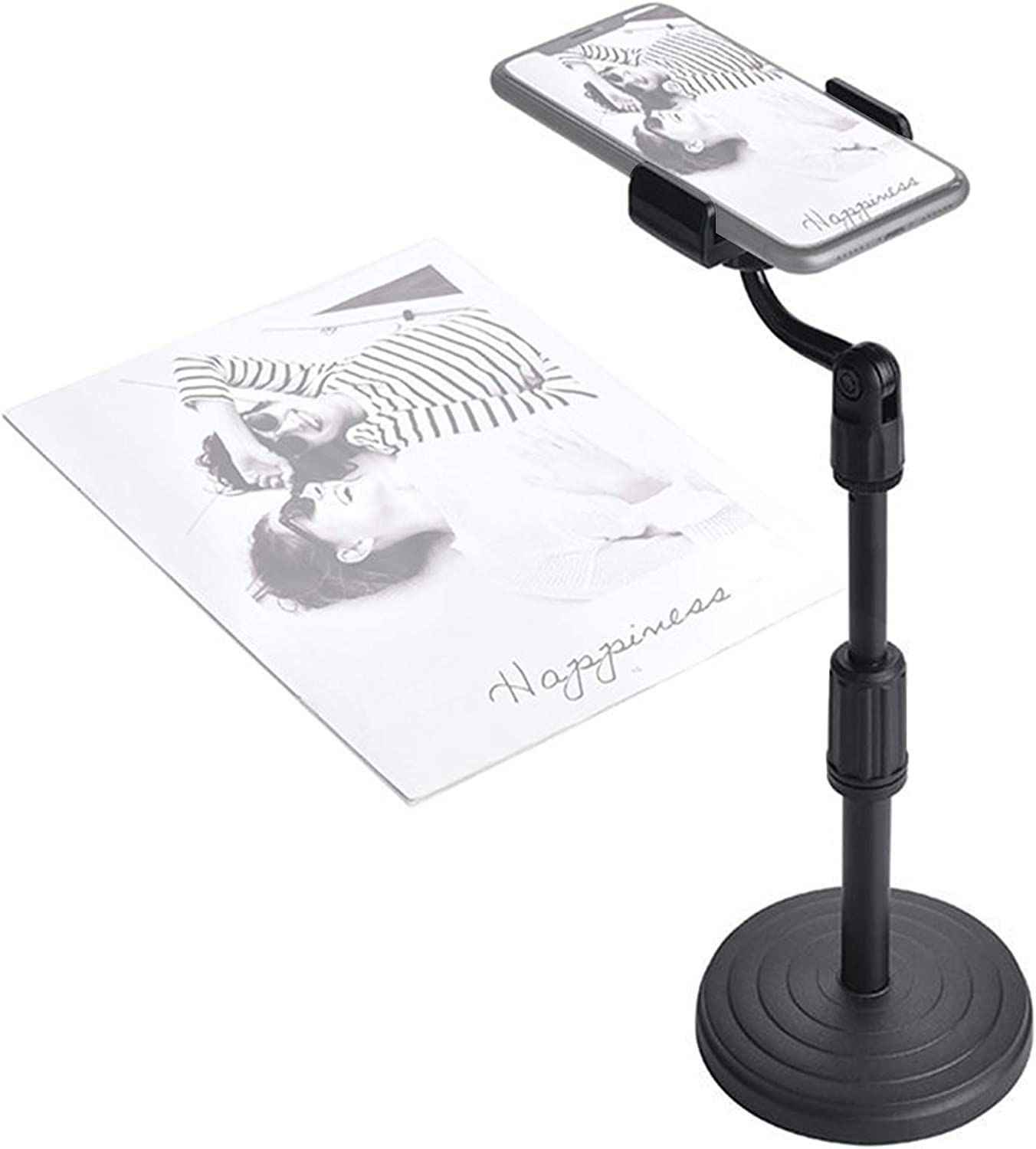 Photo Copy Stand, Pico Projector Stand with Phone Clamp, Cell Phone Stand Table Top Teaching Online Stand for Live Streaming and Online Video and Food Crafting Demo Drawing Sketching Recording