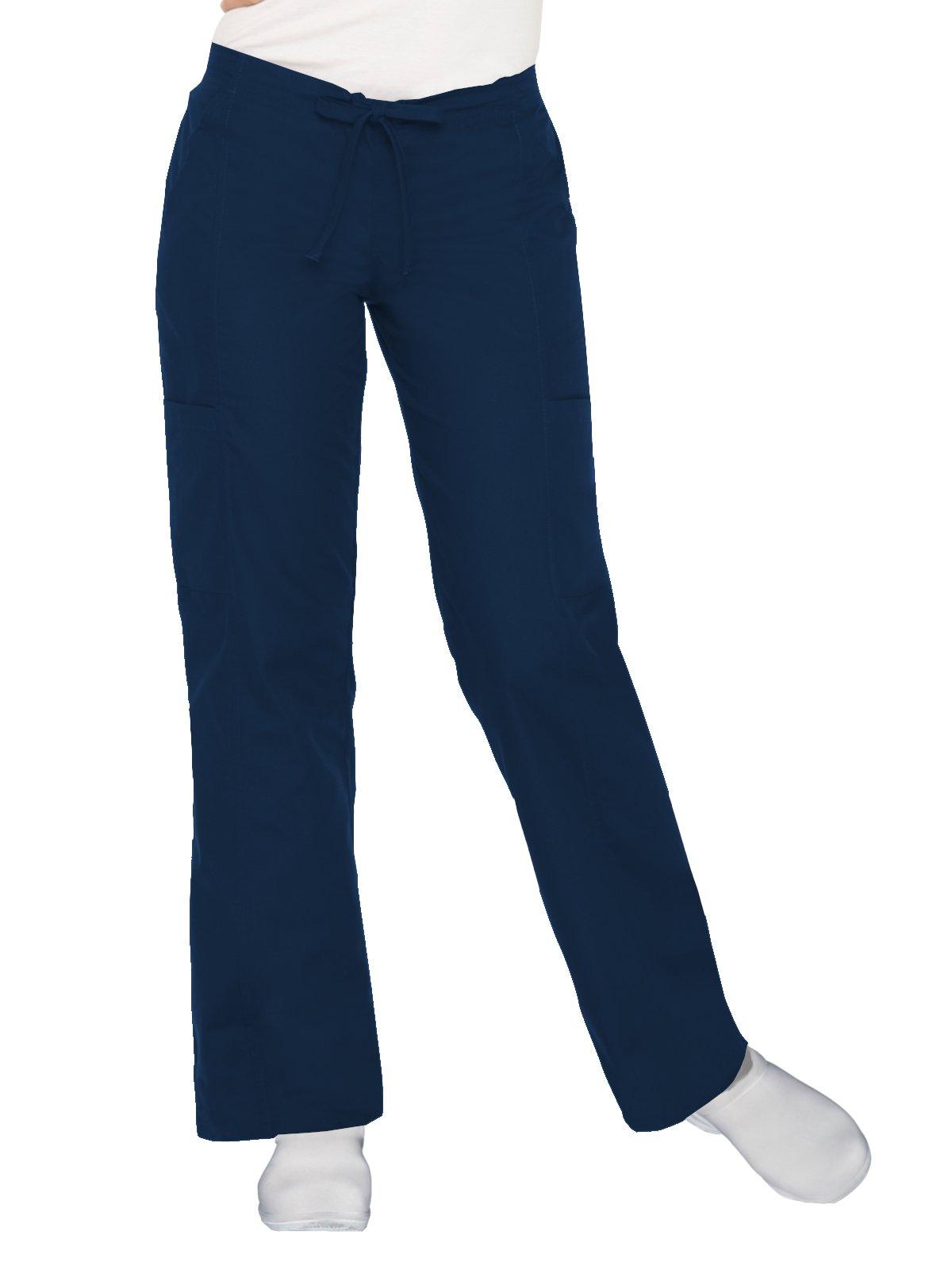 Landau Essentials Women's Classic Fit Dual-Pocket Cargo Scrub Pant Navy M