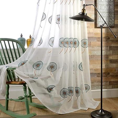 JUANstore Algodón Lino Visillos Cortinas Bordado Diente De León Patrón Voiles Cortinas con Ojales para Salón Dormitorio Balcón,Verde,W140xL245cm*1piece: Amazon.es: Hogar
