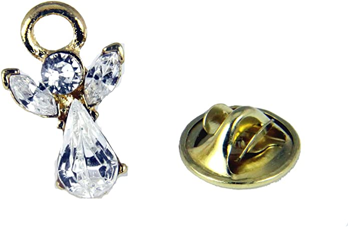 October Silver Guardian Angel Pin Miracles Birthstone Plated Pin