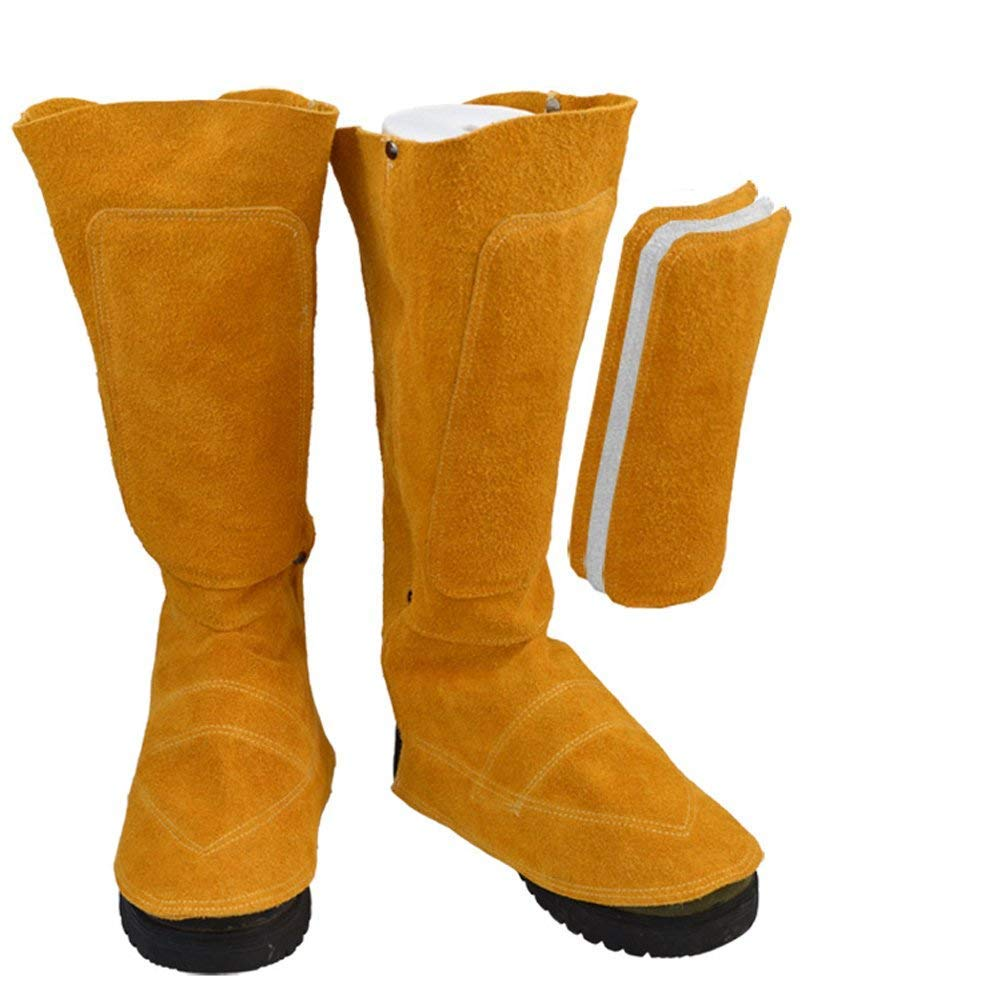 Cowhide Leather Welding Spats Welding Protective Shoes Feet Cover for Welder, Flame Resistant Foot Safety Protection (Yellow 1#) by Hersent