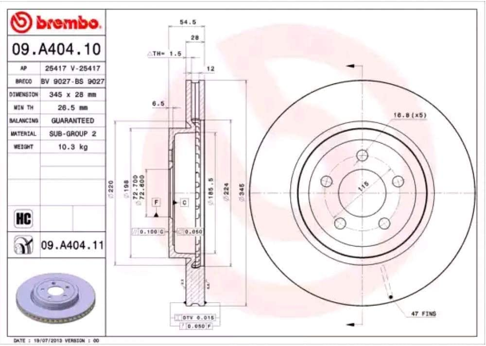 Bremsscheibe Coated Disc Line Brembo 09 A404 11 Auto