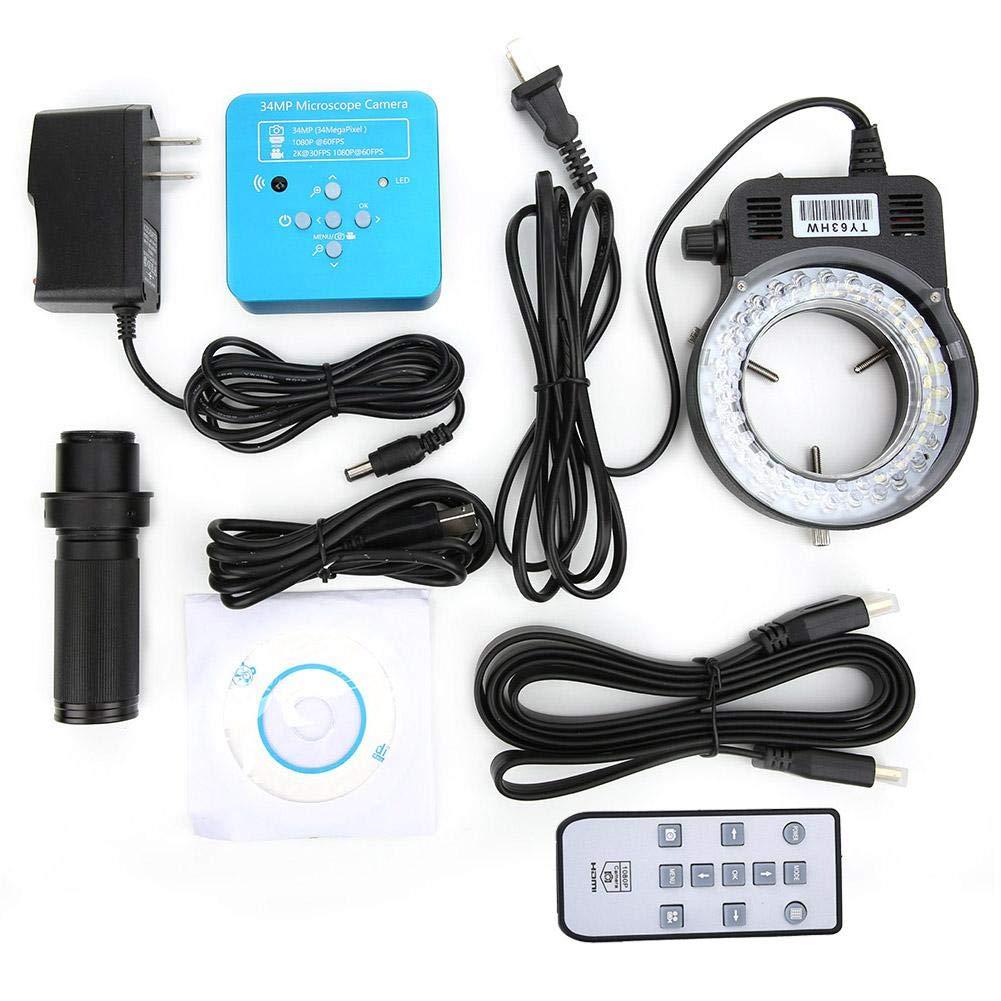 US Plug Microscope Camera,34MP 2K 1080P 60FPS HDMI USB Industrial Microscope Camera for Phone Repair 100-240V