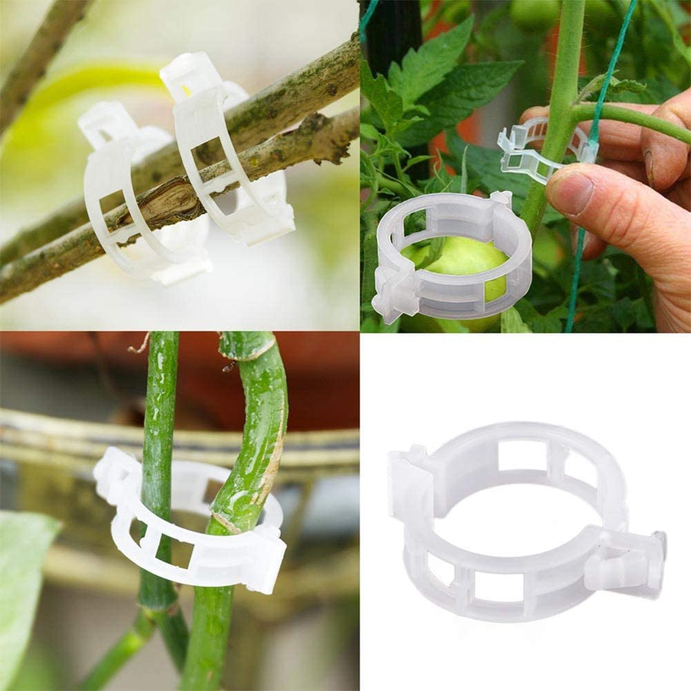 Clear White Orgrimmar 100 PCS Plant Support Garden Clips Garden Clamps Clips for Vine Vegetables Tomato to Grow Upright and Makes Plants Healthier White