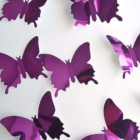 YWLINK 12 UNIDS Mariposa De Plata Espejo DecoracióN Home Room Art ...