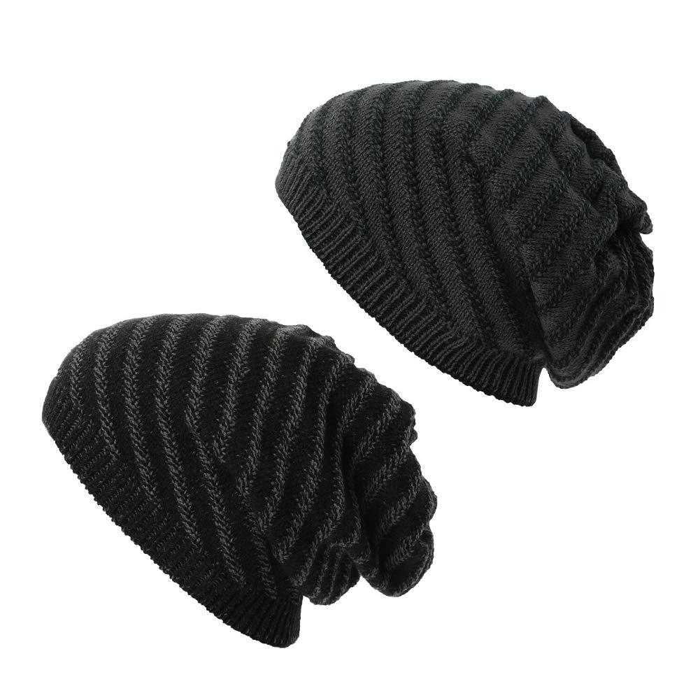 SIGGI メンズ スラウチハット ウールニット ビーニー帽 キャップ 二層 暖か 冬 厚手  1044_black+gray B0784ZFH71